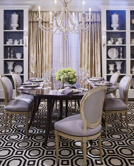 traditional home dining rooms. Opulent details and a graphic rug give this purple dining room feminine  appeal Traditional Home