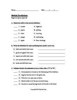 Medical Terminology Quiz 3 Digestive System Medical Terminology Medical Knowledge Medical