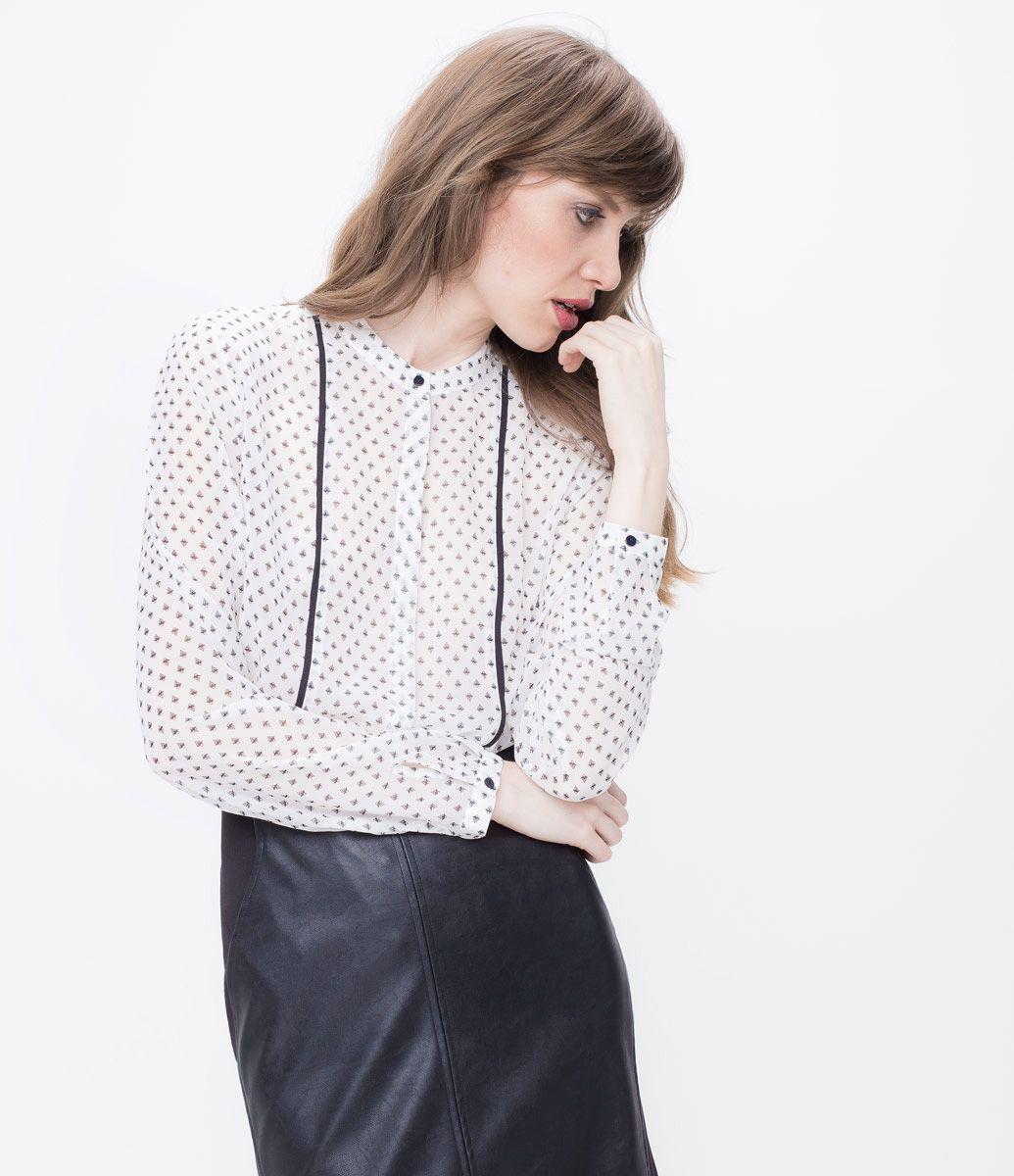 2f56c61be Blusa feminina modelo camisa manga longa estampada