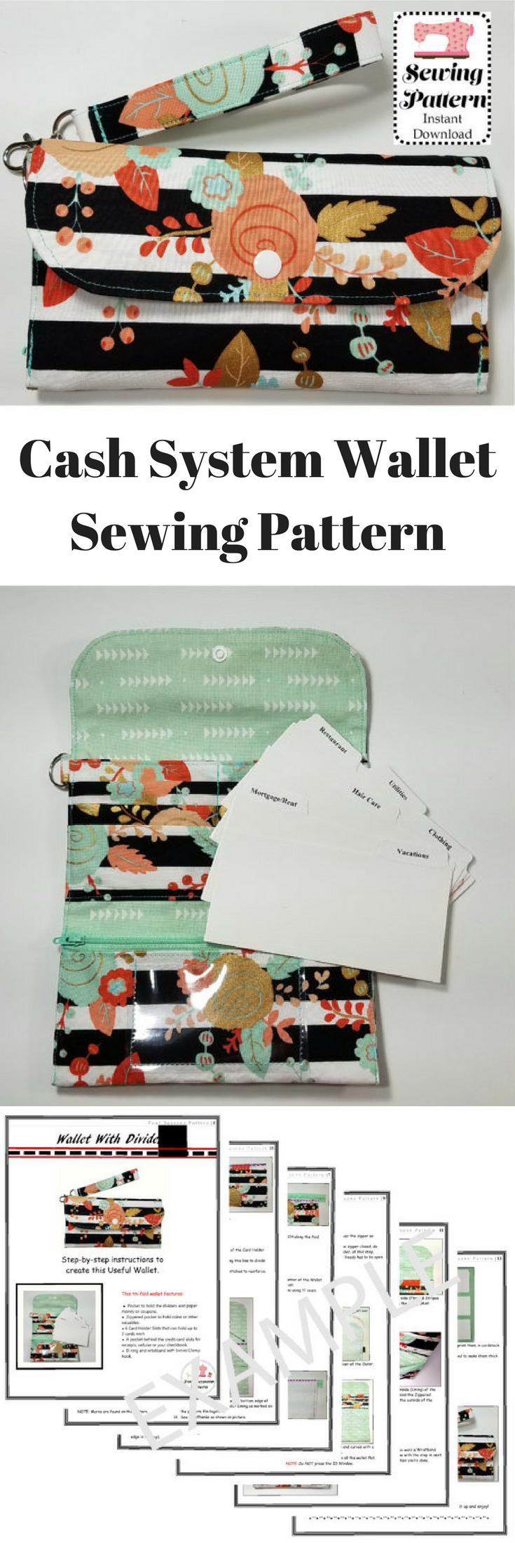 Cash System Wallet Sewing Pattern Printable PDF | Cash System Wallet with Dividers | Dave Ramsey Inspired Budgeting System #ad #budgeting #wallet #walletsystem #envelope #envelopesystem #cashenvelope #daveramsey #pattern #sewing #sewingpattern #printablepattern #printable #pdf