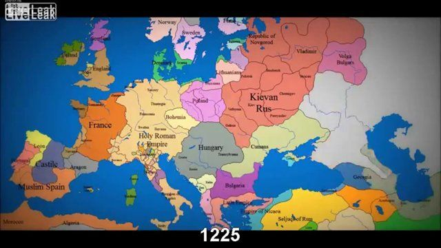 Map 0f Europe.Watch As 1000 Years Of European Borders Change Timelapse
