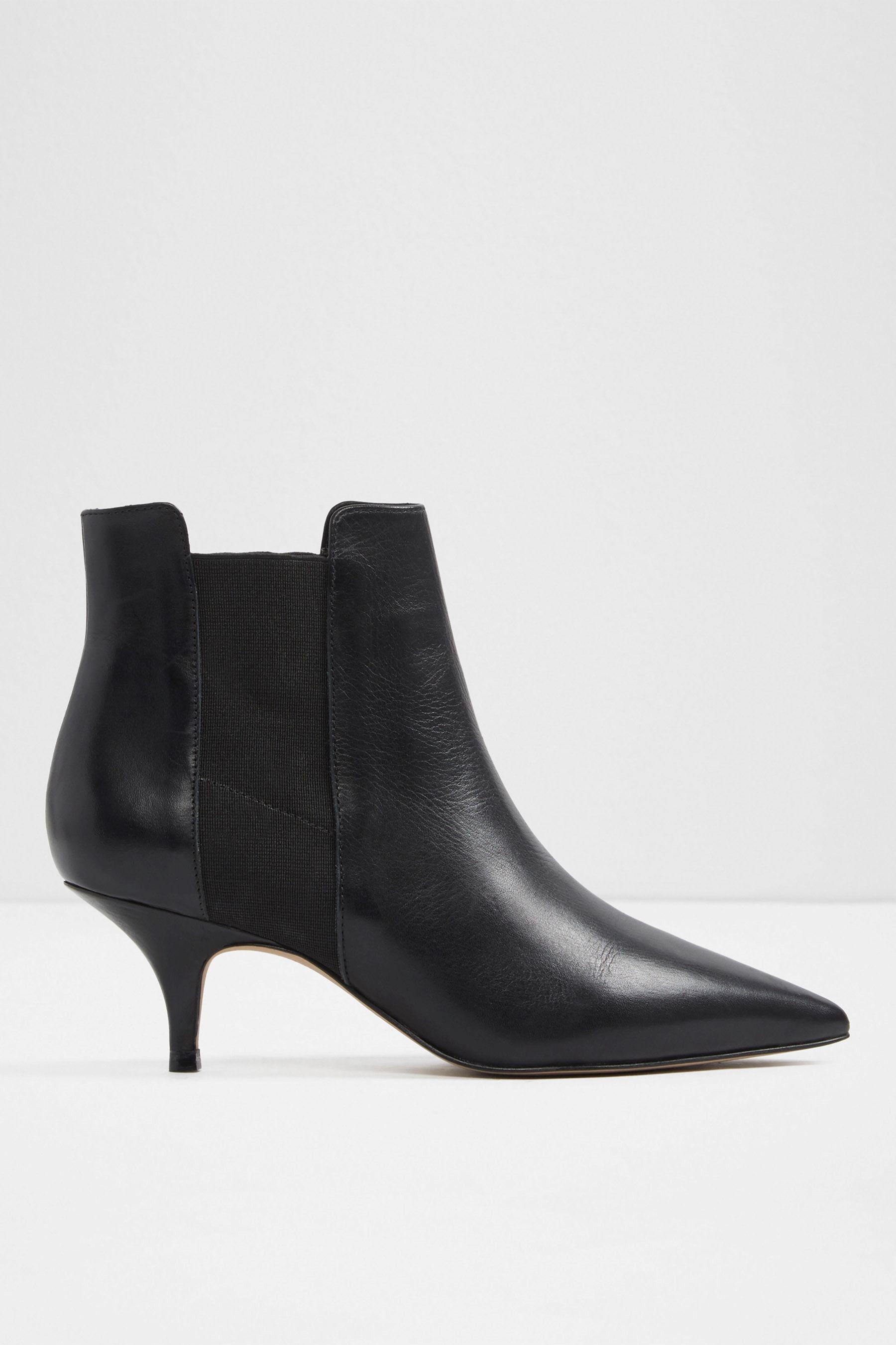 Womens Aldo Kitten Heel Chelsea Leather Ankle Boot Black Black Heel Boots Boots Chelsea Ankle Boots