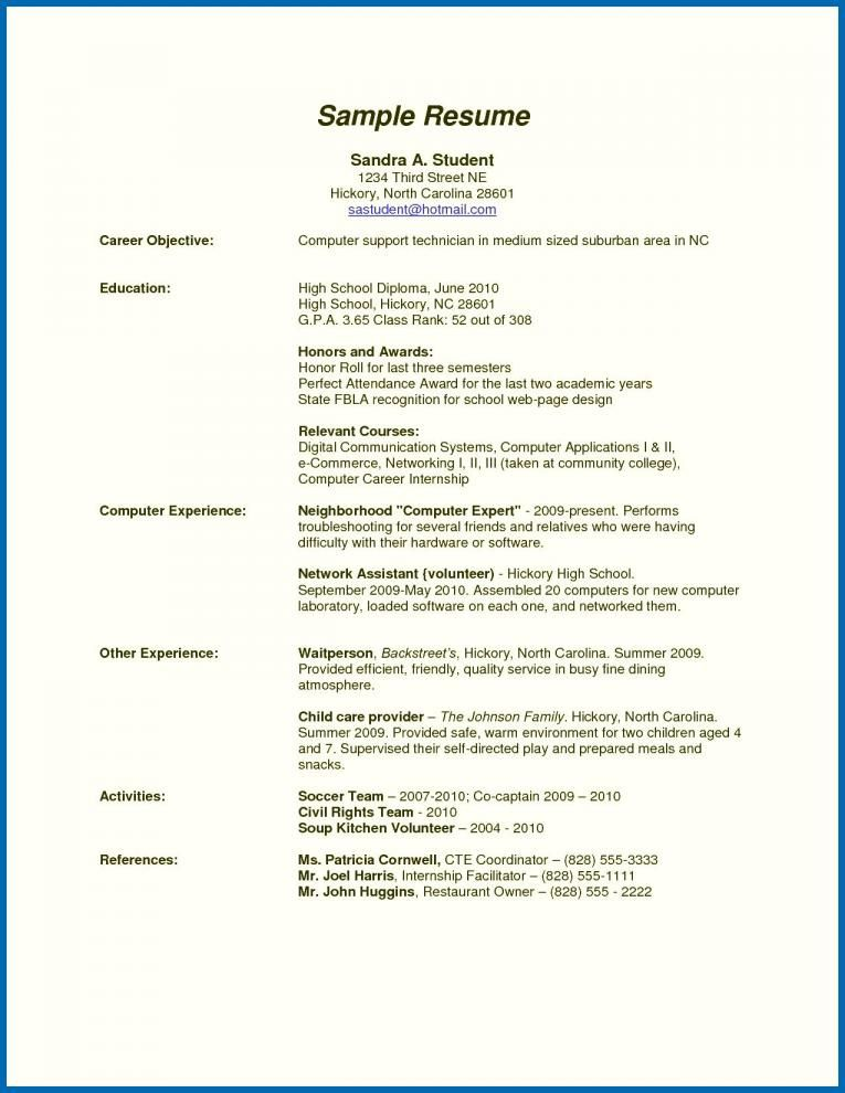 Resume Sample For High School Graduate With No Work Experience High School Resume Good Resume Examples Work Experience
