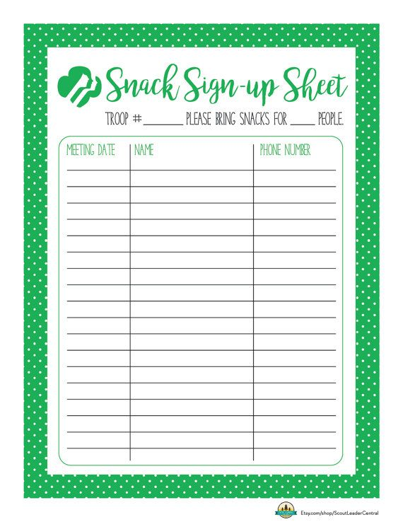 Instant Download Girl Scout Snack Sign-up by ScoutLeaderCentral - sample meeting sign in sheet