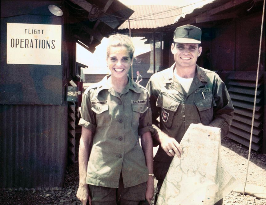 This picture of 1st. Lt. Thomas James Chiminello (Dust Off Pilot) and his sister Capt. Barbara Chiminello (Army Nurse) was taken in front of Flight Operations shortly before Tom's death in 1967, Long Binh, Vietnam.