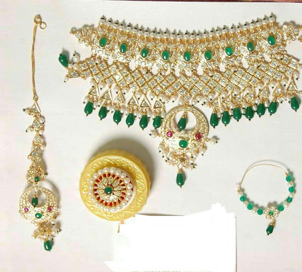 Rajputi jewellery beautiful necklace set (necklace, eating,nosring ...