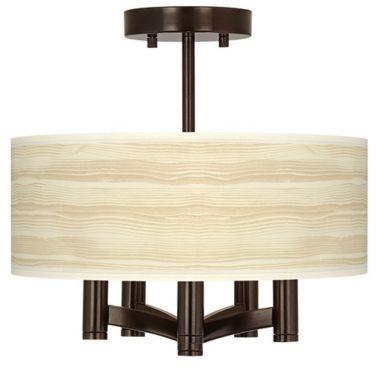 Ava Bronze with Birch Blonde Drum Shade Ceiling Light - #EUY0035-4T526 - Euro Style Lighting