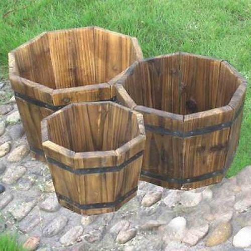 Wooden Barrel Planter Outdoor Flowers Pots Octagonal Set Of 3 Garden Decor Uk Outdoor Garden Decor Wooden Garden Planters Wooden Garden