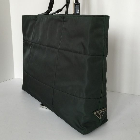 """Authentic PRADA Logo Shoulder Nylon Tote Authentic PRADA Logos Shoulder Bag Nylon Plastic Iridescent Dark Green - Italian Vintage hard to find shoulder tote bag. Excellent Condition with no signs of wear. Like """"New""""   ☃TRADE value is $450☃ Prada Bags Totes"""