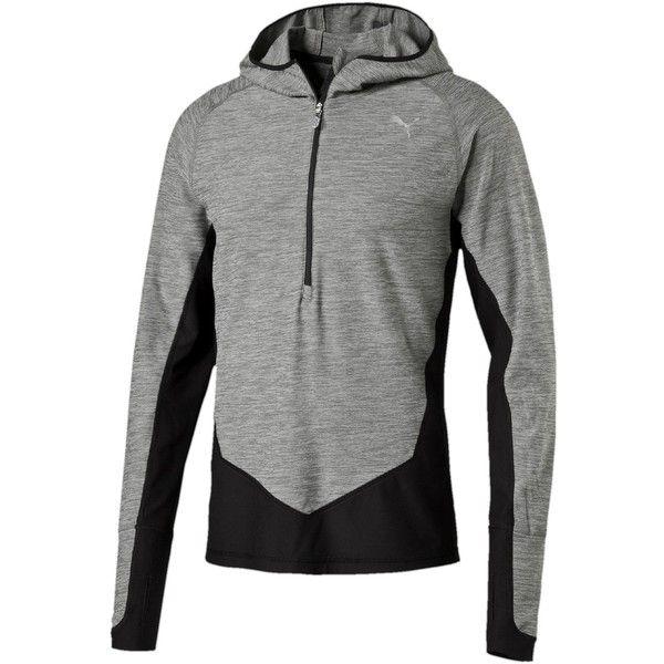 Puma Long Sleeve Half-Zip Hooded Running Top ($75) ❤ liked on Polyvore