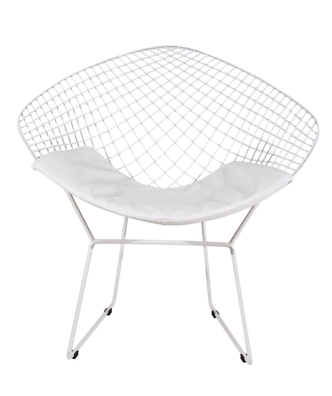 Bertoia diamond chair white - Milano Republic Furniture Replica Harry Bertoia Diamond Chair Powdercoated White With White Seat Cushion