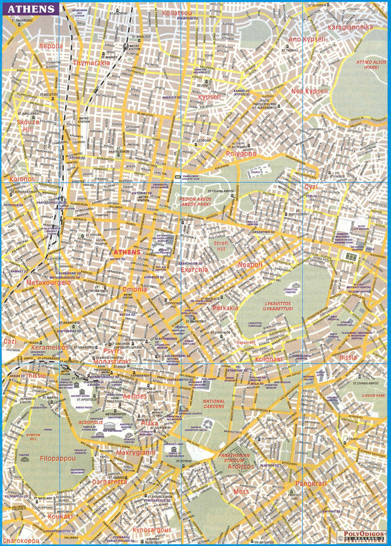 Map Of Athens Greece Street Map of Athens, Greece | Travel | Athens map, Athens city