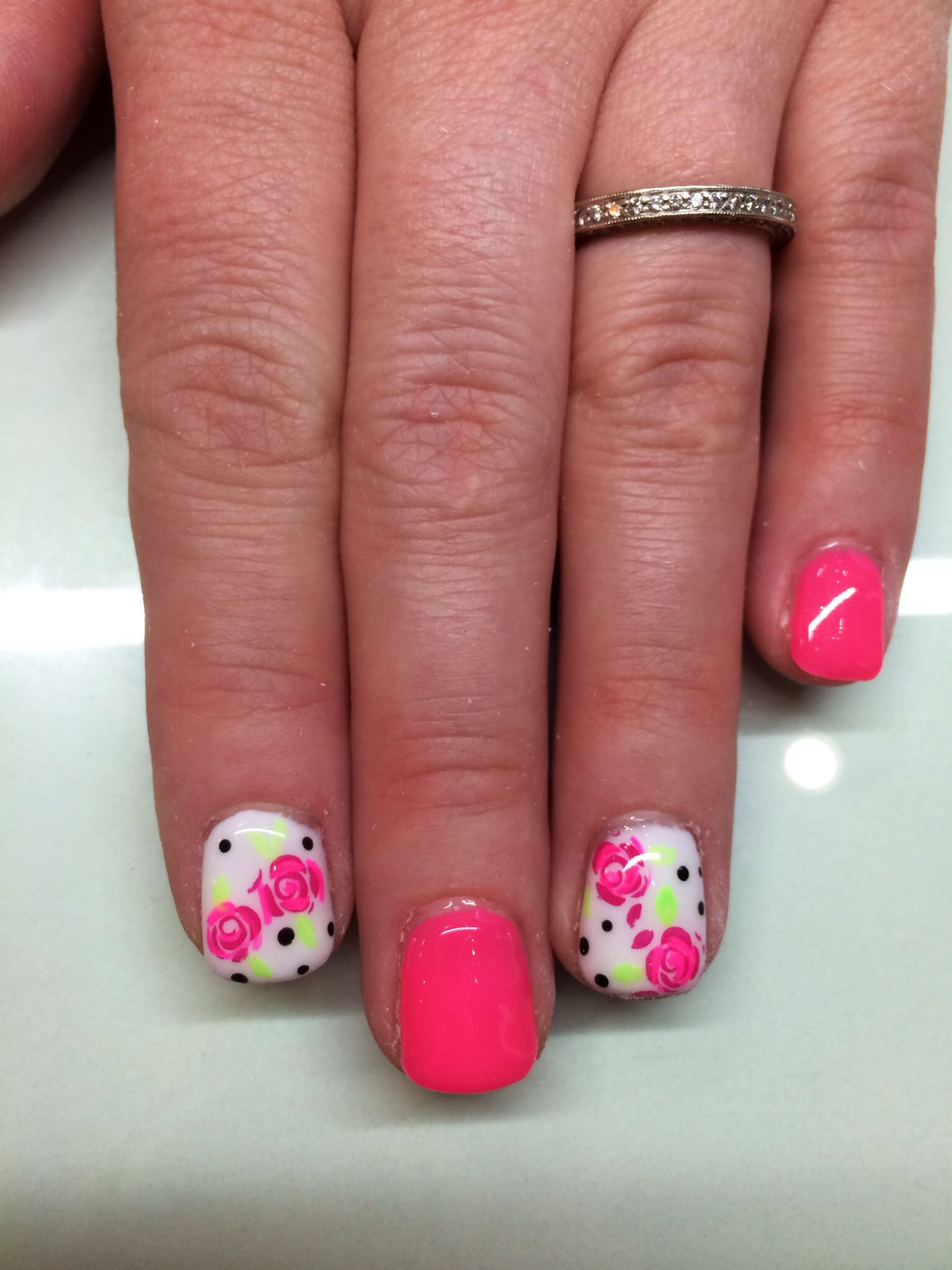 Rose and pink gel nails. Short overlay