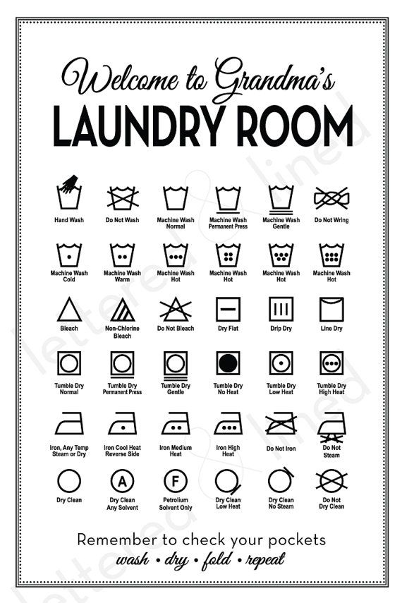 customizable laundry symbols print
