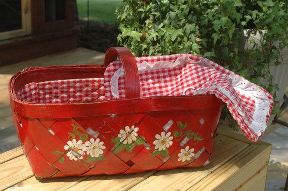 vintage hand painted red floral basket sweet anziehsachen rund ums haus haus und fliegenpilz. Black Bedroom Furniture Sets. Home Design Ideas