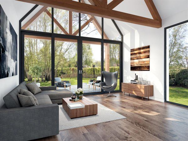 Interieur huis met houten spanten google zoeken for Moderne villabouw