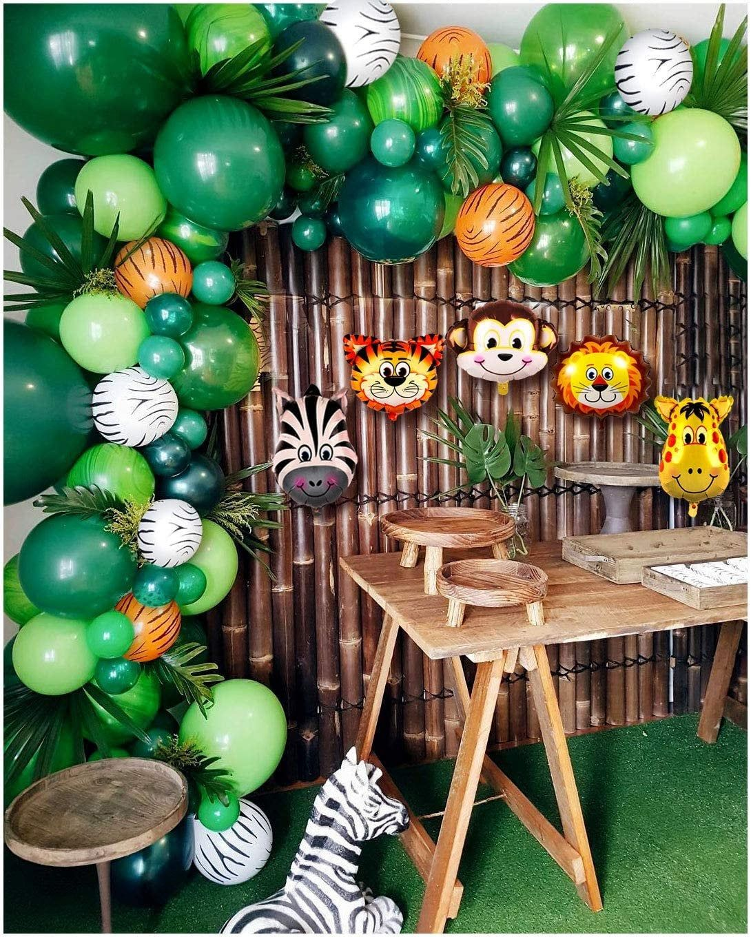 Jungle Party Balloon Garland Kit In Green And Orange Zebra Etsy In 2020 Safari Theme Party Jungle Baby Shower Theme Baby Shower Safari Theme