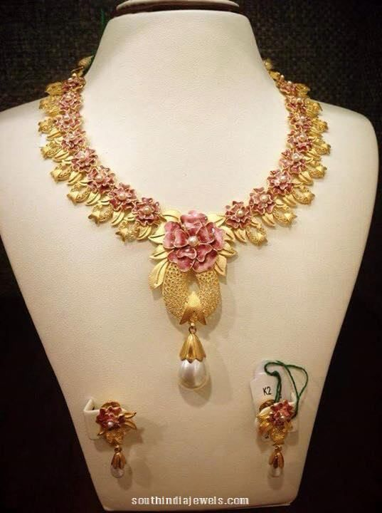 Designer Gold Floral Necklace With Earrings South India Jewels Gold Necklace Designs Gold Jewelry Fashion Jewelry