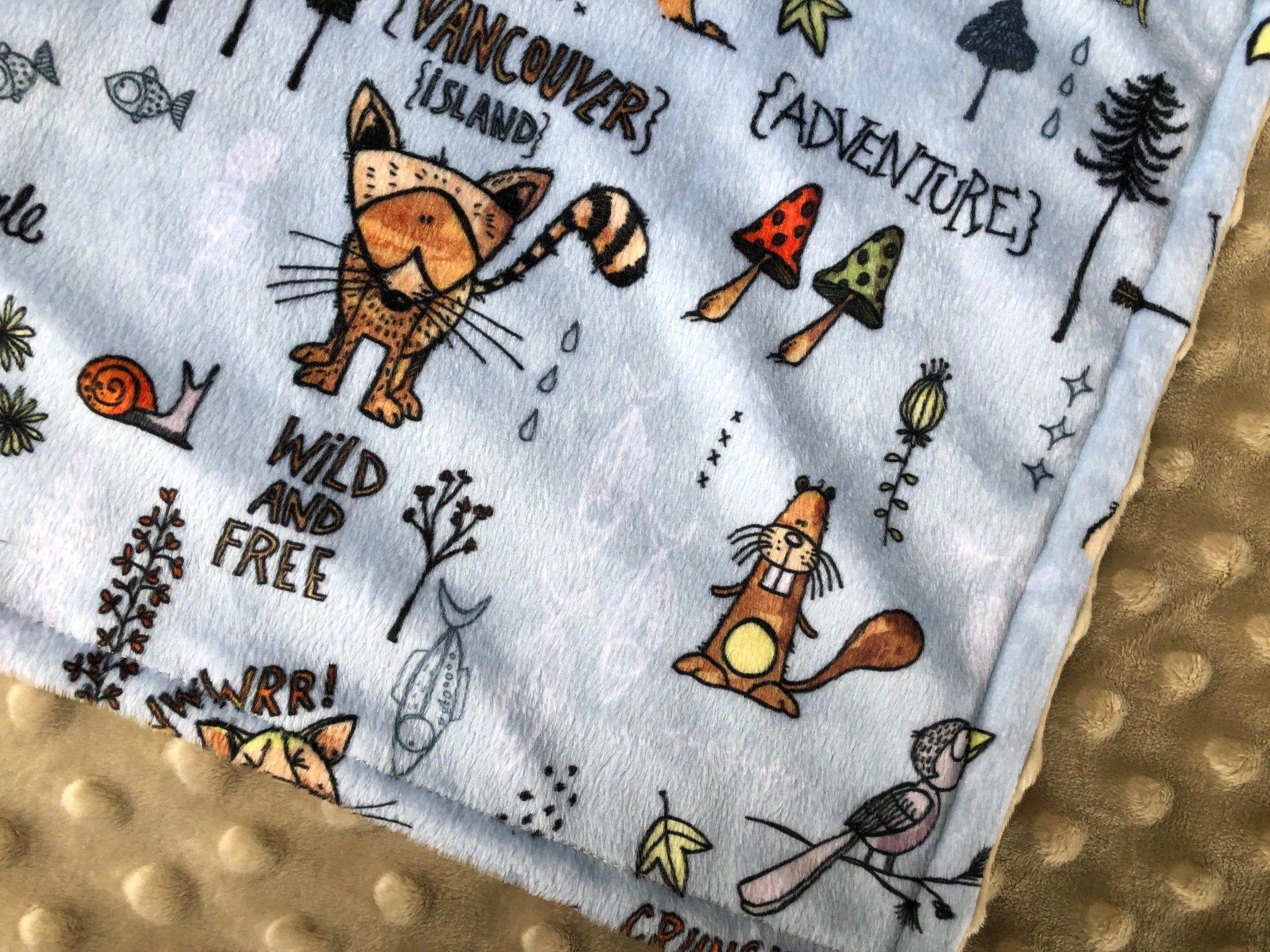 VANCOUVER baby blanket BC small animal minky blankie