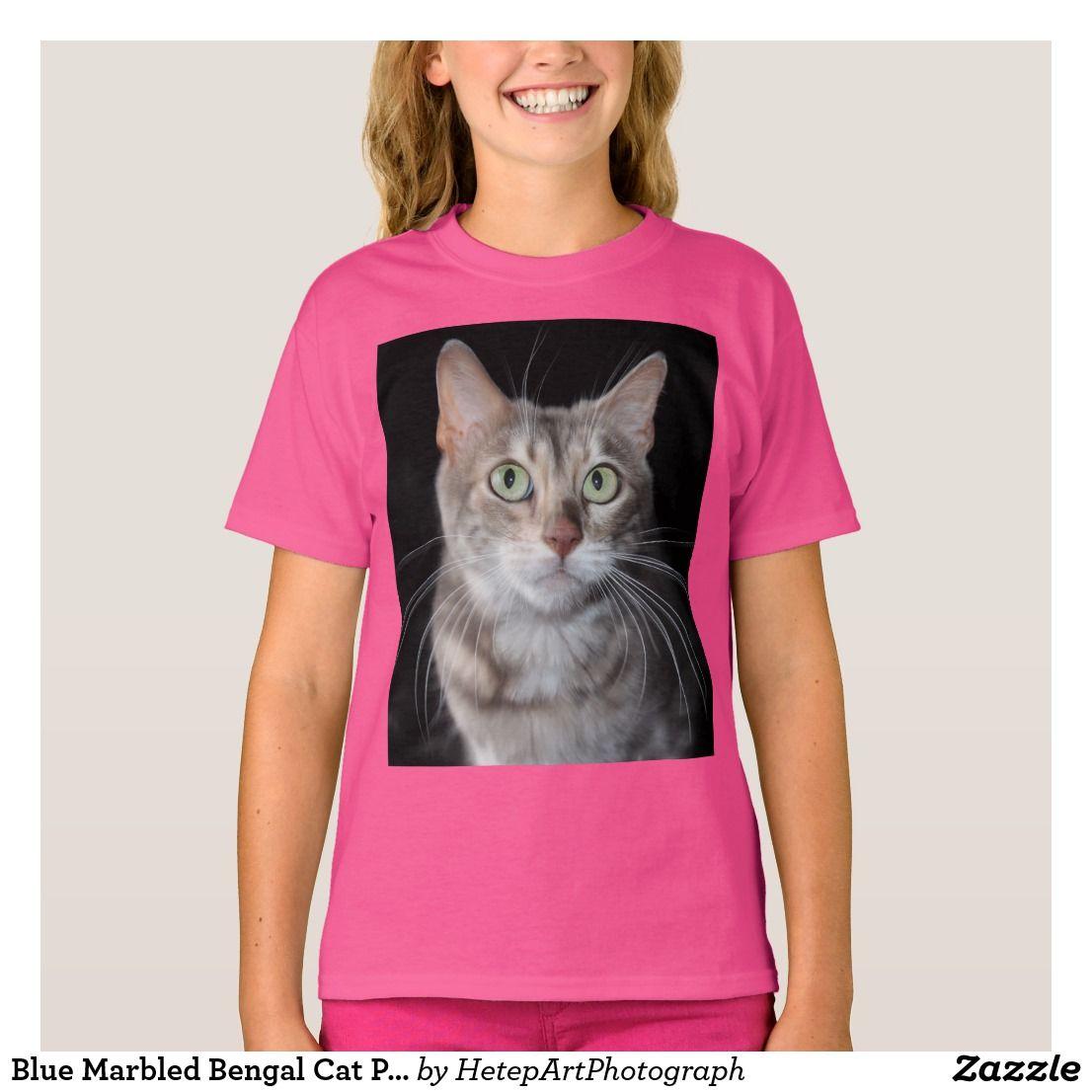 Blue Marbled Bengal Cat Photograph T Shirt Zazzle Com Bengal
