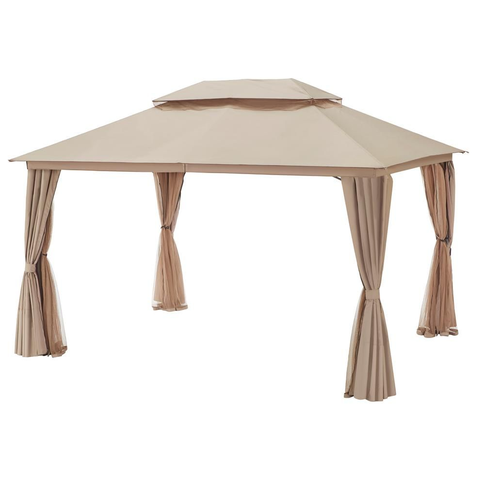 Hampton Bay Gazebo With Double Top And Mosquito Netting D6114 Gz