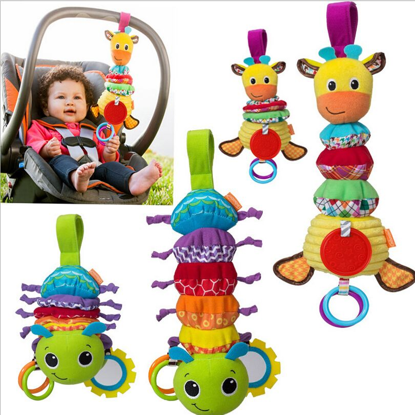 Baby Rattles Toys Caterpillar Sound Bed Car Hanging Musical Toy With Teether