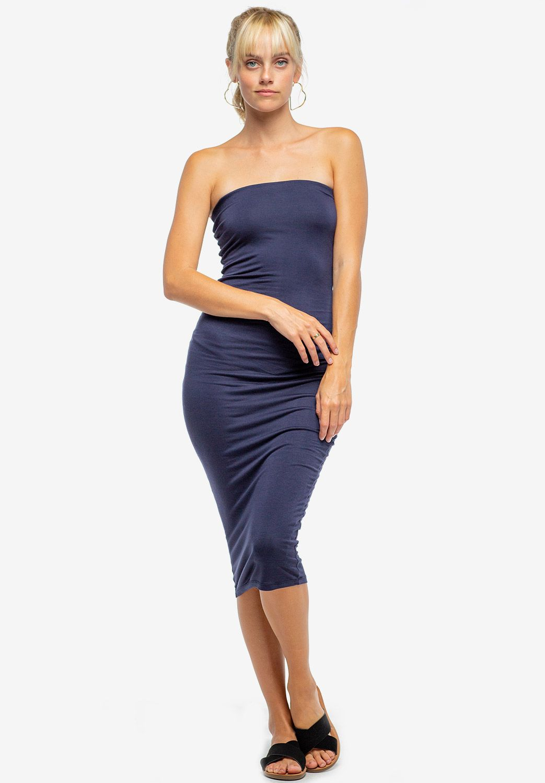 Basic Strapless Bodycon Midi Dress Shop New Arrivals At Papaya Clothing Midi Dress Bodycon Dresses Midi Dress [ 1500 x 1043 Pixel ]