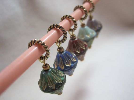 Vintage glass beaded stitch markers. Snag free by ArtsParadis, $8.00