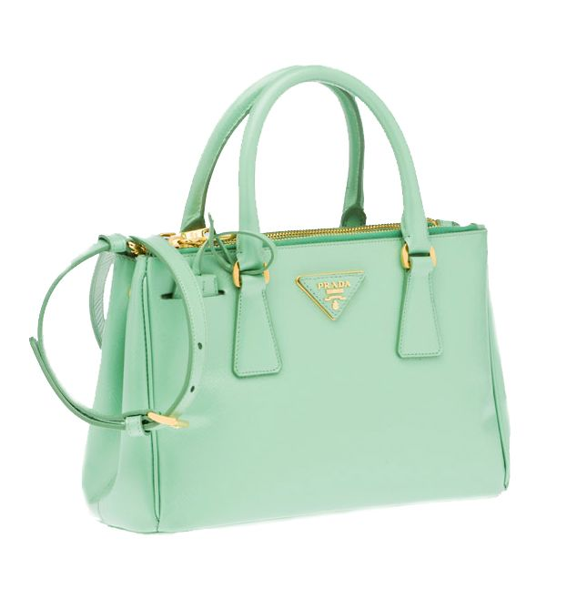 e625c960889 Prada mint leather double handle bag | Mint | Prada bag, Green ...