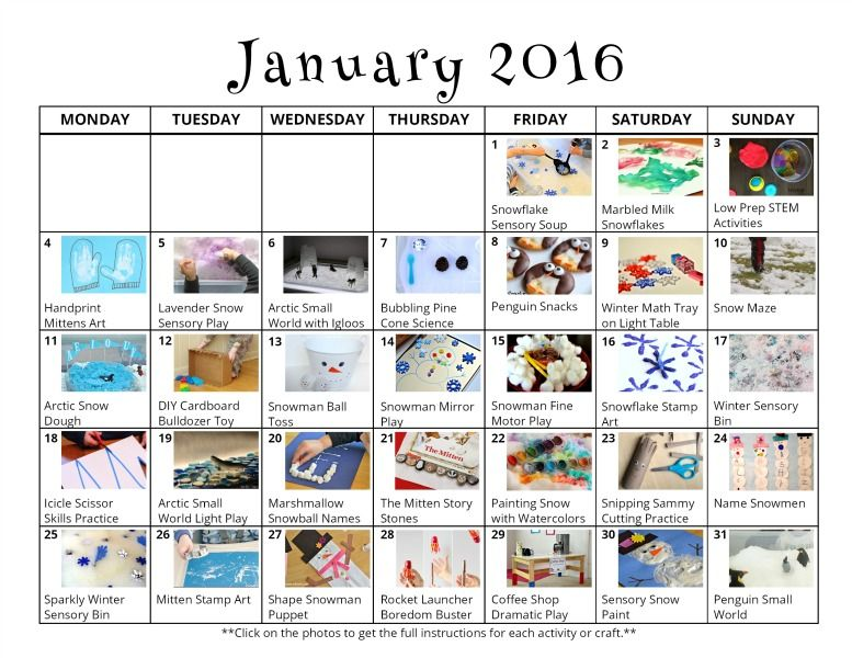 31 January Activities for Kids {Free Activity Calendar} January - activity calendar