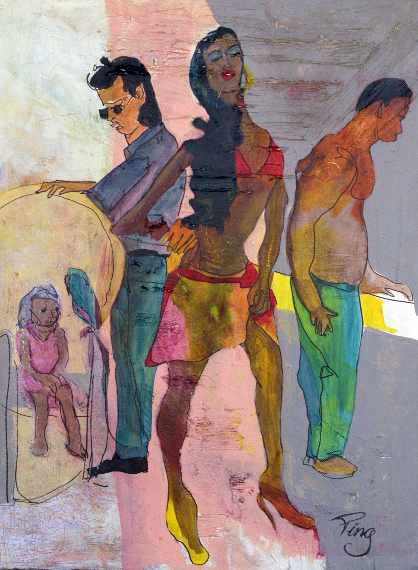 "Schilderij Ping Frederiks, 50x70 cm. acryl op doek ""me, myself and I in Brasil"""