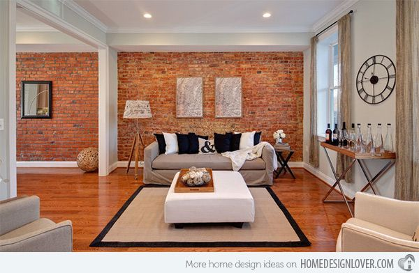 red brick living room brick wall accents in 15 living room designs brick 14279