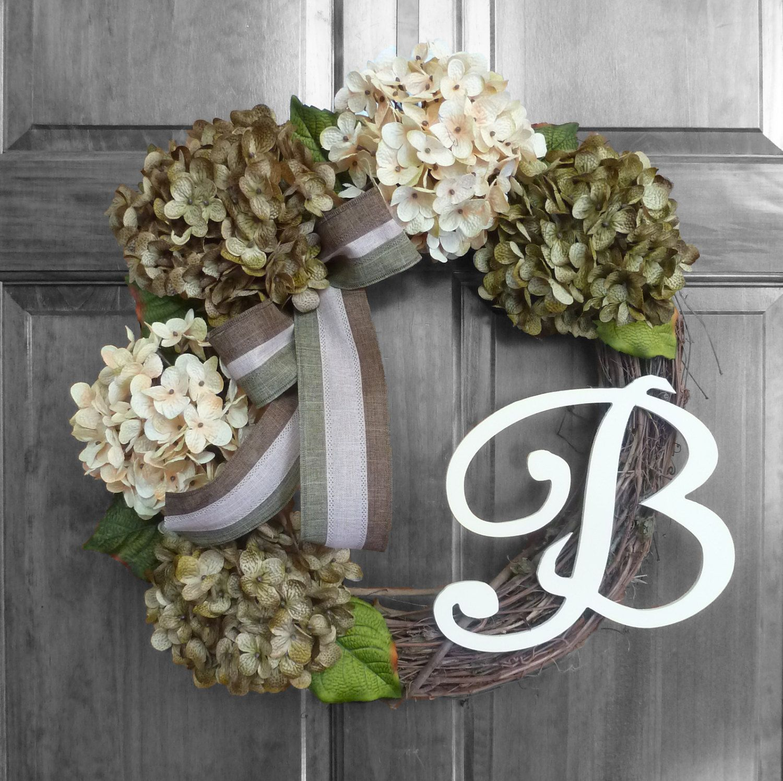 Year Round Wreath, Custom Wreath, Front Door Decoration, Green Hydrangea  Wreath, Monogram