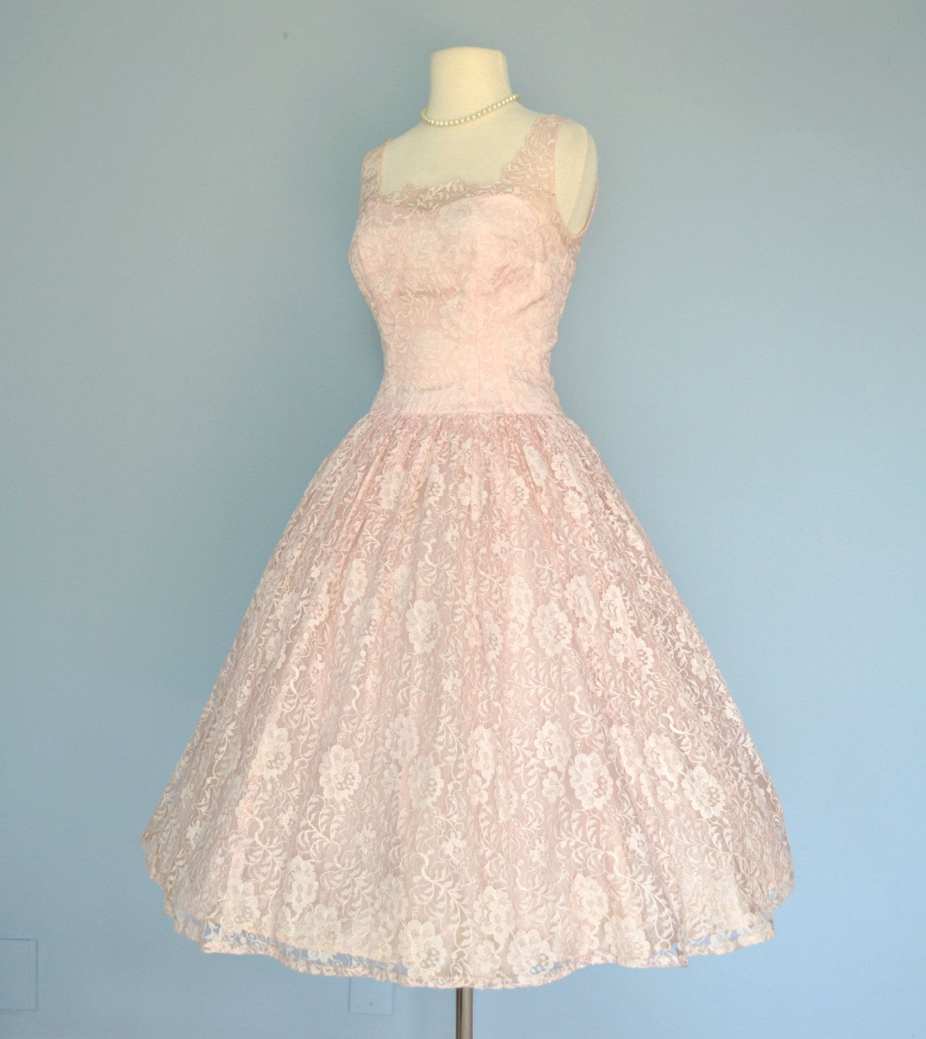 1950s Pink Lace Wedding Dress..JR. THEME Tea Length by deomas ...