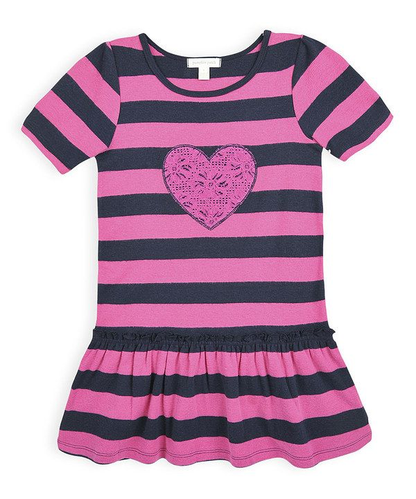 Look at this Navy Lace Heart Stripe Drop-Waist Dress - Girls on #zulily today!