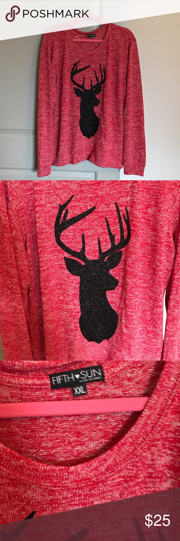 Glitter Deer Sweater NWOT Glitter Deer Sweater! Fifth Sun Sweaters Crew & Scoop Necks