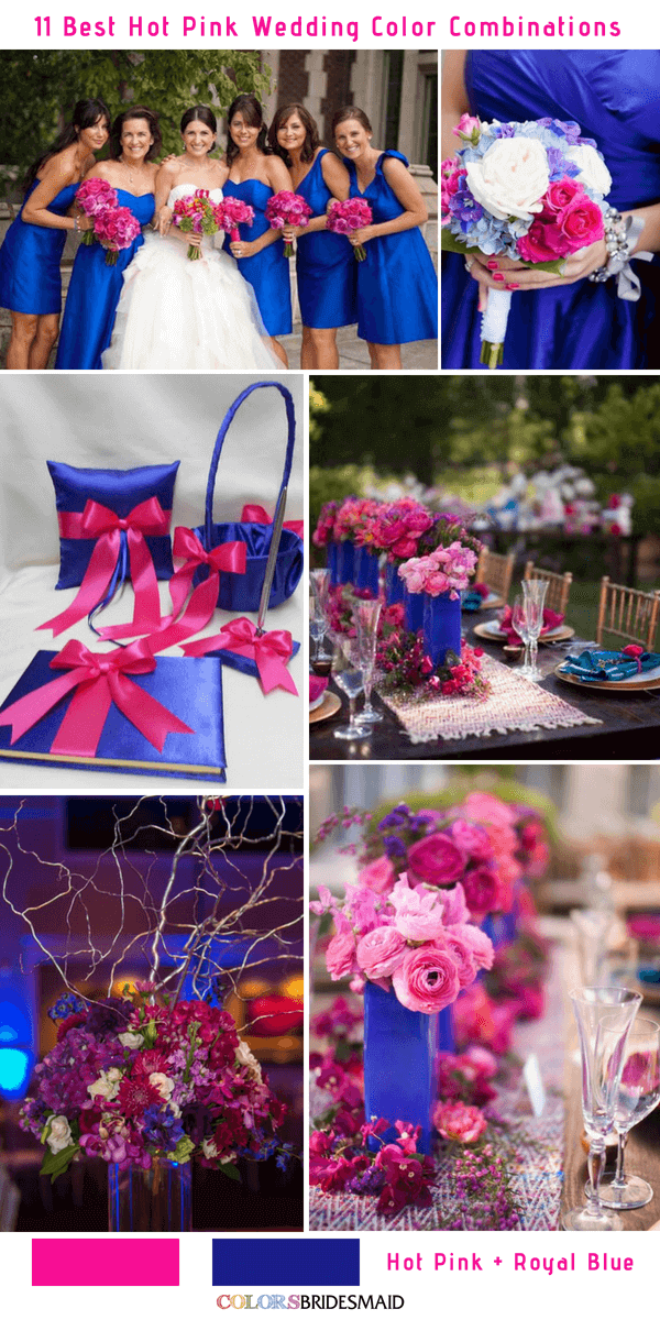 11 Best Hot Pink Wedding Color Combinations Ideas Pink Wedding