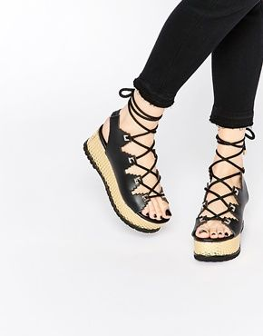 8d5eb1421dce Kat Maconie Eva Black   Gold Lace Up Flatform Sandals