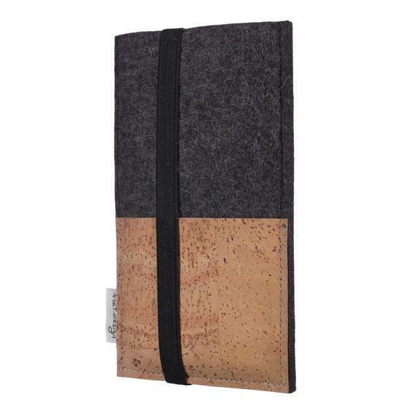 flat.design Handyhülle Sintra Natur Für Huawei P-serie - 100 % Wolle - Dunkelgrau - Filz Schutz Tasche