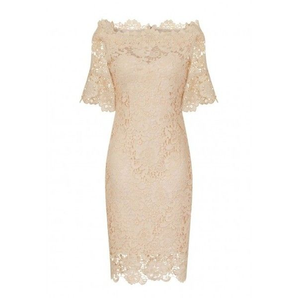Paper Dolls Bardot Crochet Lace Dress in Cream (1,415 MXN) ❤ liked on Polyvore featuring dresses, midi cocktail dress, holiday dresses, midi dress, long-sleeve babydoll dresses and flutter sleeve dress