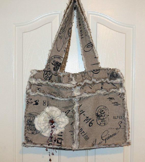Rag tattered vintage look shoulder bag purse tote by jewellgem, $60.00
