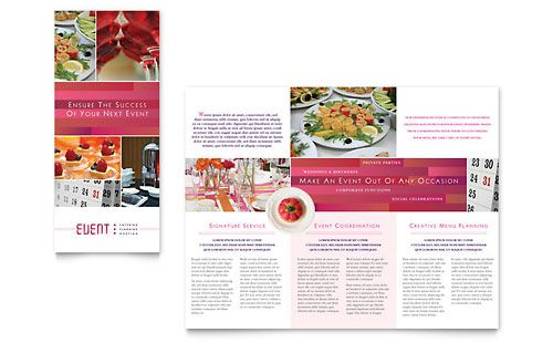 Corporate Event Planner  Caterer Tri Fold Brochure  Design