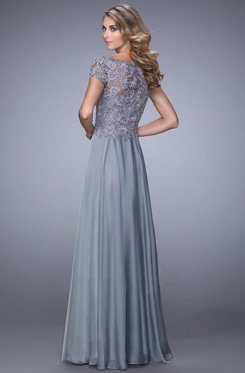 La Femme - 21627 Illusion Lace Chiffon Gown #lacechiffon