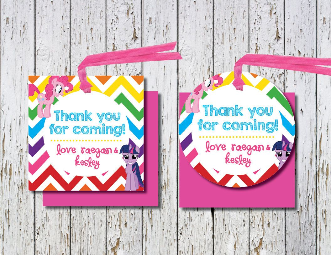 My Little Pony Favor Tags My Little Pony Thank You Tags My