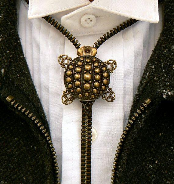 Steampunk Necklace  Zipper Necklace  Turtle by PeteAndVeronicas, $25.00
