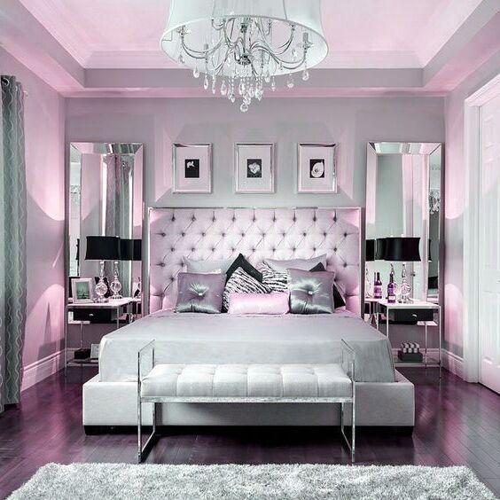 Photo of Gothic Home Decor Beautiful Bedroom Decor | Tufted Grey Headboard | Mirrored Fur…