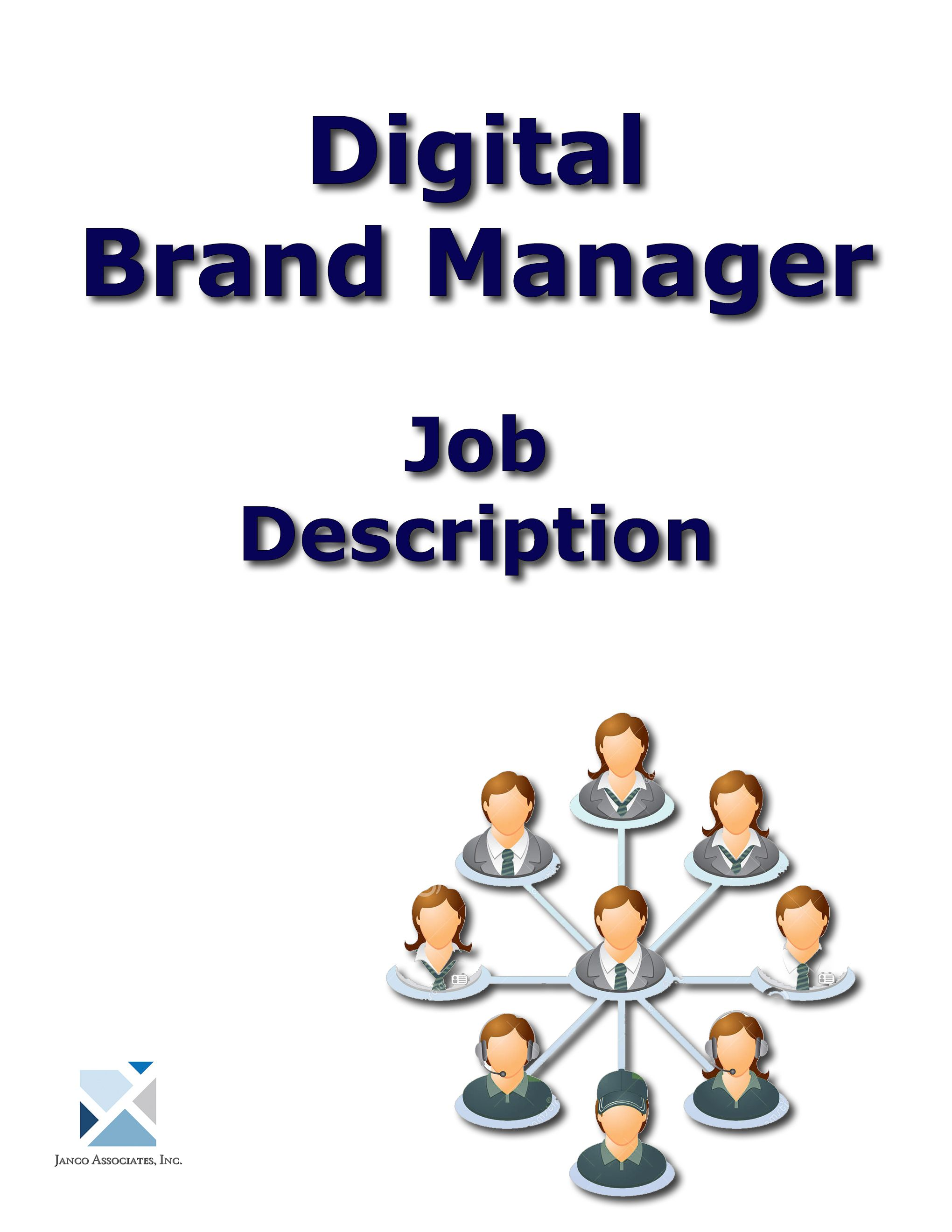 Full Digital Brand Manager Job Description Can Be Purchased Individually Or As Part Of The Full Set Of Internet A Brand Management Job Description Management