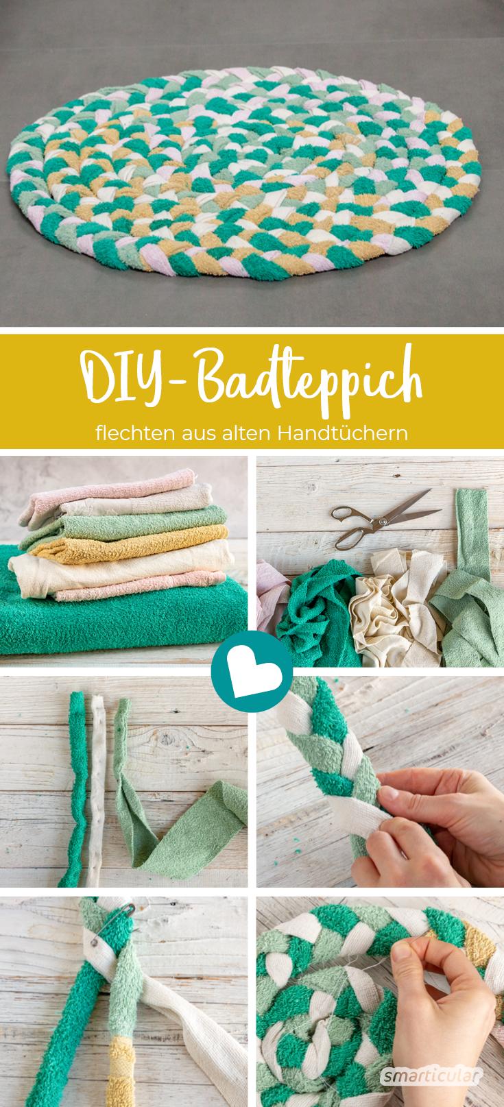 Badteppich selber machen - so lässt sich aus alten Handtüchern ein Teppich flechten