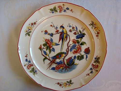 "Antique European Chop Plate or Platter by Villeroy & Boch. Excellent condition earthenware platter in high gloss glaze. Beautiful ""Phoenix"" pattern shows the phoenix bird rising from the ashes in its ""risen-anew"" glory and beautiful colors!"