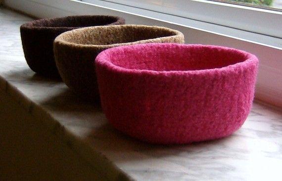 bols en laine feutrée